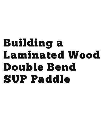 picture of the double bend SUP paddle book cover