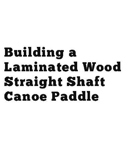 picture of the straight shaft canoe paddle book cover